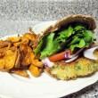 Chickpea Veggie Burger & Sweet Potato Fries with Tahini Sauce