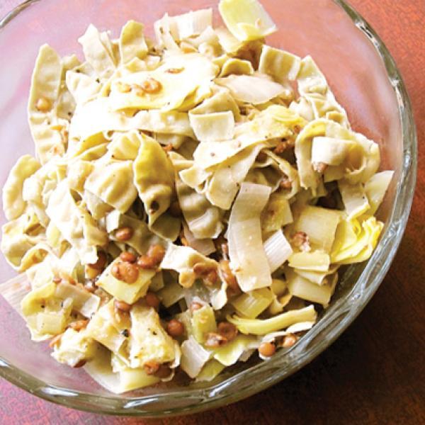 Leek, Artichoke, & Lentil Mung Bean Linguine