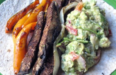 Roasted Portobello and Pepper Fajitas with Guacamole