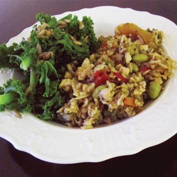 Soy Ginger Un-Fried Rice with Kale & Sunflower Seeds