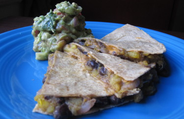 Squash and Black Bean Quesadillas with Guacamole