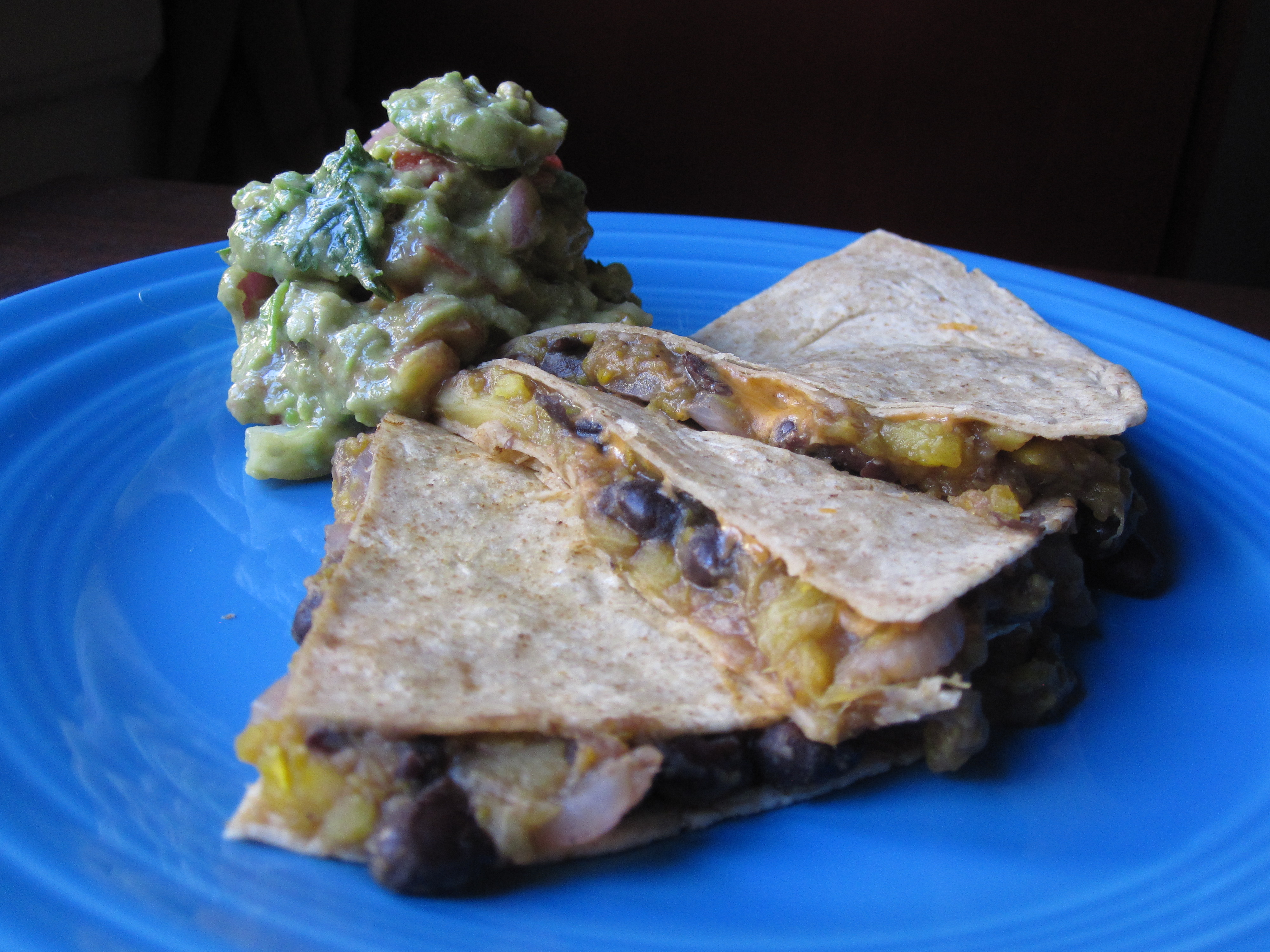 Squash and Black Bean Quesadillas with Guacamole